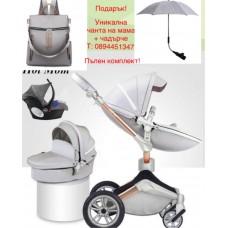 бебешка количка Hоt mоm  аналог Мима Хари/Mima Xari 3 в 1 Сиво