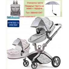 бебешка количка Hоt mоm  аналог Mima Xari сиво с листа 2 в 1