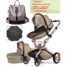 бебешка количка  Hот Мом аналог Мима Хари/Mima Xari 2 в 1 Гучи Gucci