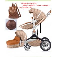 бебешка количка Hot Mom аналог Mima Xari 2 в 1 Кафяв с цветя