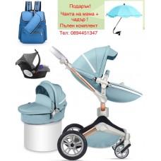 бебешка количка Hоt mоm  аналог Mima Xari 3 в 1 Синьо