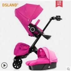 бебешка количка Dsland INBB 2 в 1 аналог Stokke Xplory Розово