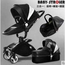 бебешка количка AULON аналог Мима Хари/Mima Xari 3 в 1 черно-бяло